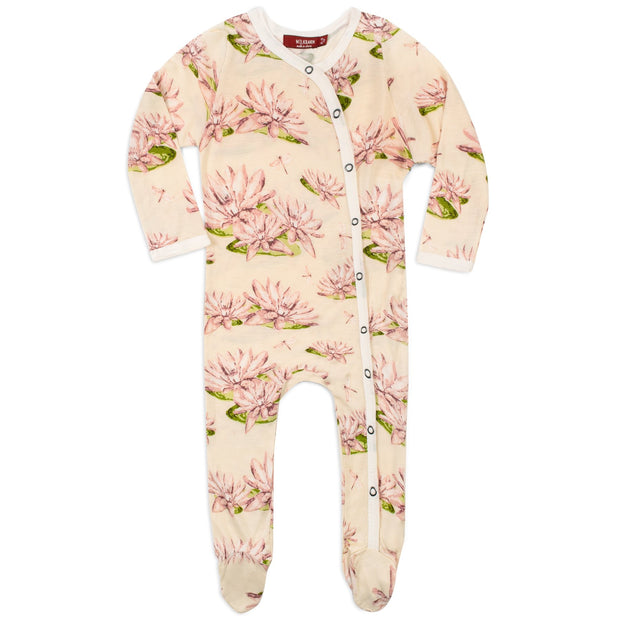 Milkbarn Footed Romper in Water Lily