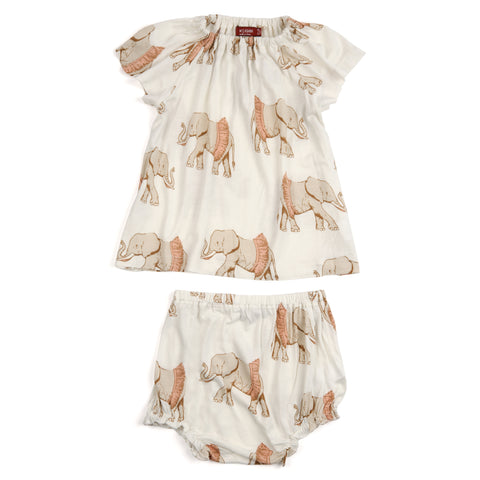 Milkbarn Tutu Elephant Dress & Bloomer Set