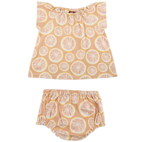Milkbarn Grapefruit Dress & Bloomer Set