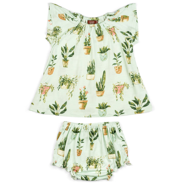 Milkbarn Potted Plants Dress & Bloomer Set