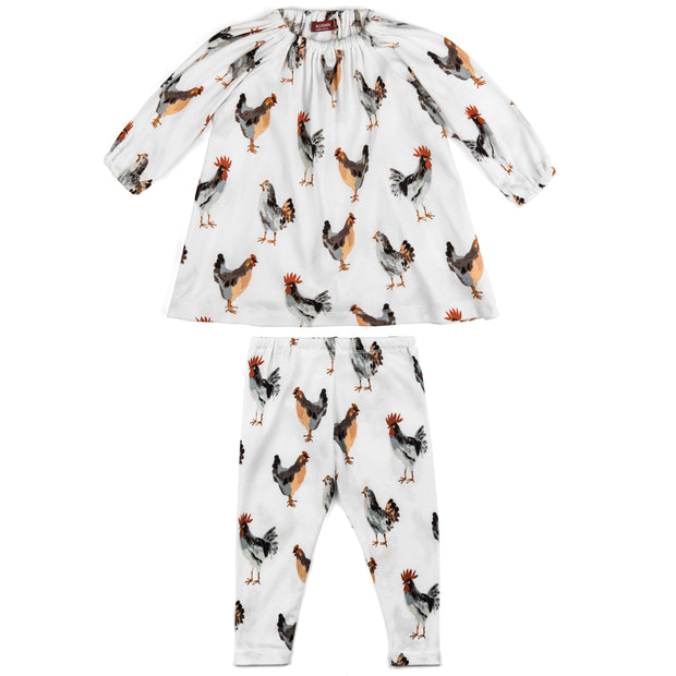 Milkbarn Chickens Dress & Legging Set