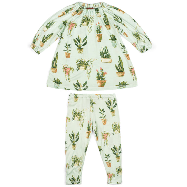 Milkbarn Potted Plants Dress & Legging Set