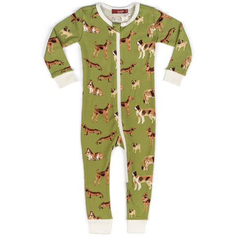 Milkbarn Green Dogs Zipper Pajama