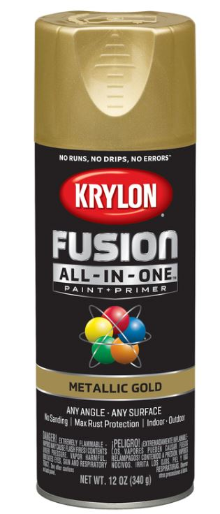 Krylon Fusion All-In-One Metallic Gold Paint + Primer Spray Paint 12 oz.