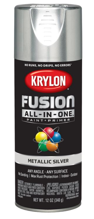 Krylon Fusion All-In-One Metallic Silver Paint + Primer Spray Paint 12 oz.
