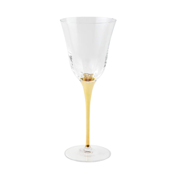 Vietri Optical Gold Stem Water Glass