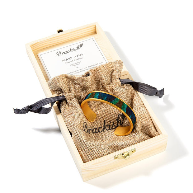 Brackish Peacock Feather Mary Ann Thin Cuff