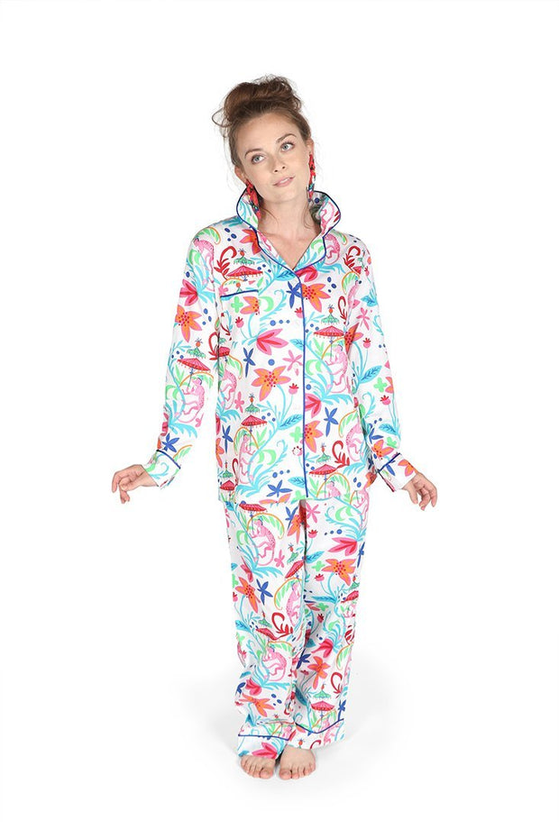 Monkey Sateen Full Pajama Set