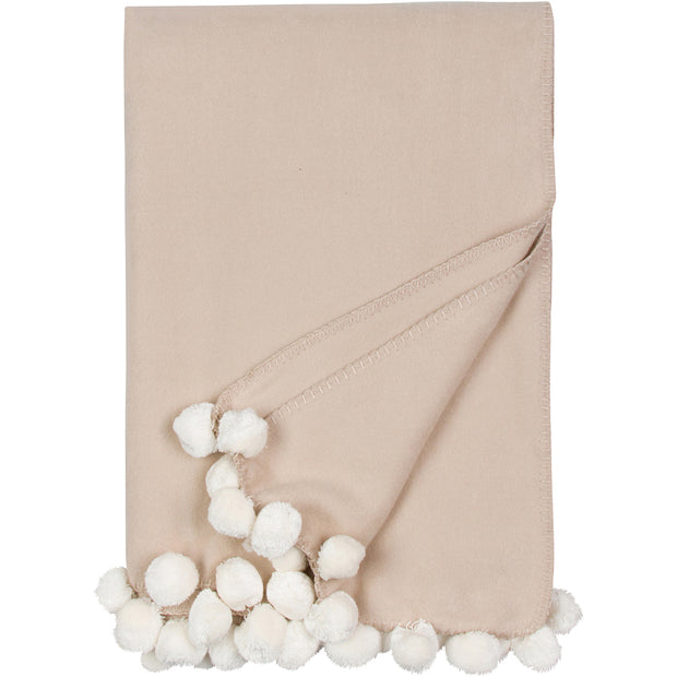 Malibu Luxxe Pom Pom Throw - Nude/Ivory