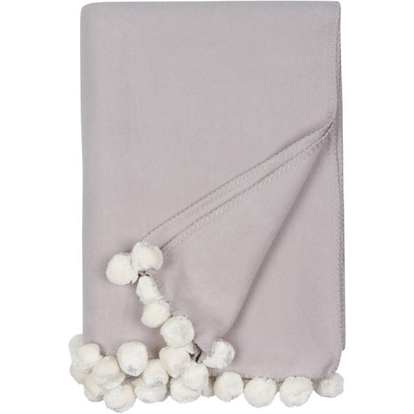 Malibu Luxxe Pom Pom Throw - Dove Grey/Ivory