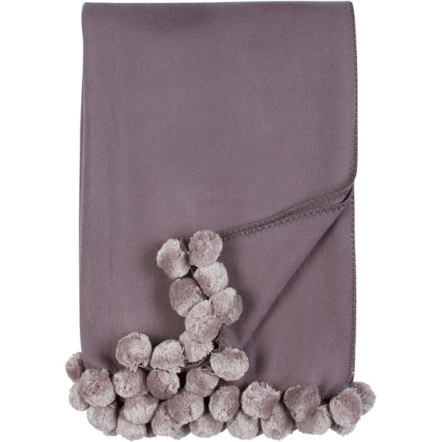Malibu Luxxe Pom Pom Throw - Steel/Dove