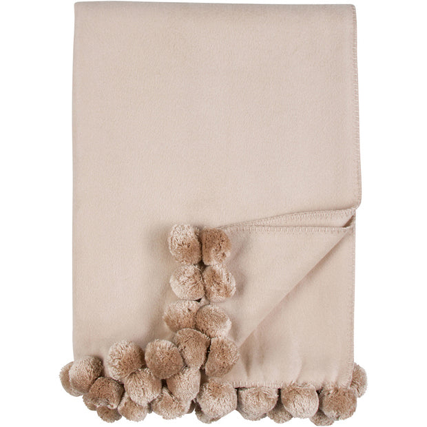 Malibu Luxxe Pom Pom Throw - Nude