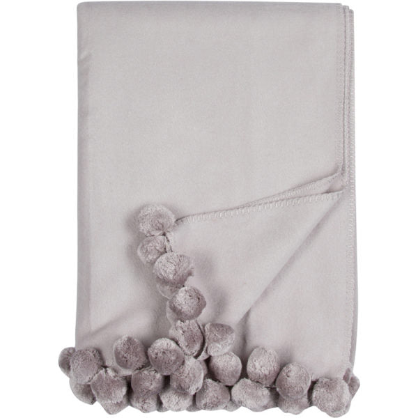 Malibu Luxxe Pom Pom Throw - Dove Grey