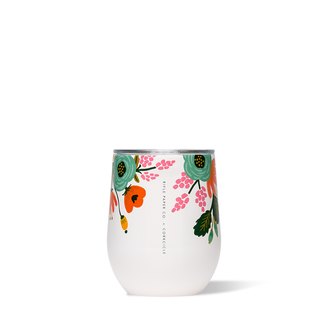 Corkcicle Rifle Paper Co. Stemless Wine Cup 12oz - Lively Floral Cream