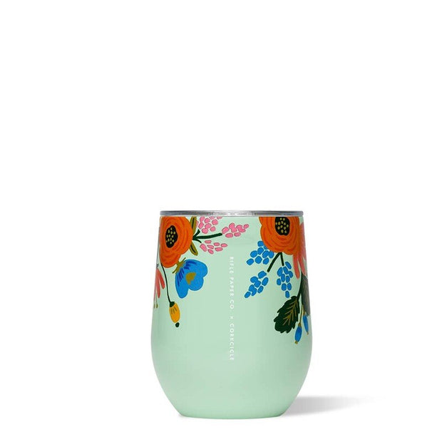 Corkcicle Rifle Paper Co. Stemless Wine Cup 12oz - Lively Floral Mint