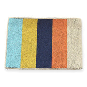 Multi Color Stripe Beaded Clutch