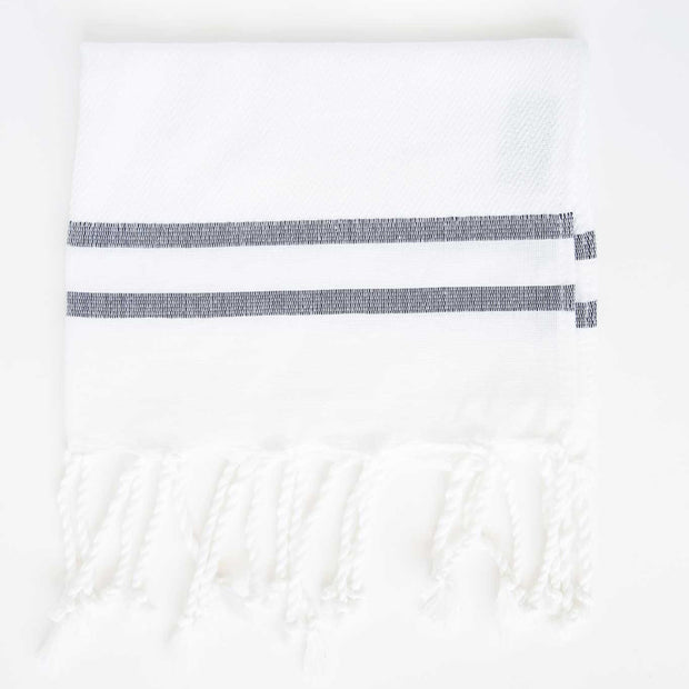 Herringbone Guest Towel 2 Stripes - White/Black