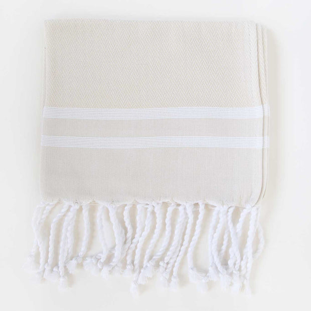 Herringbone Guest Towel 2 Stripes - Beige