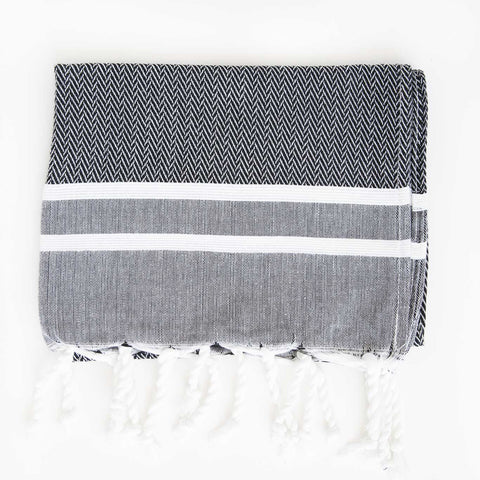 Herringbone Guest Towel 2 Stripes - Black/White