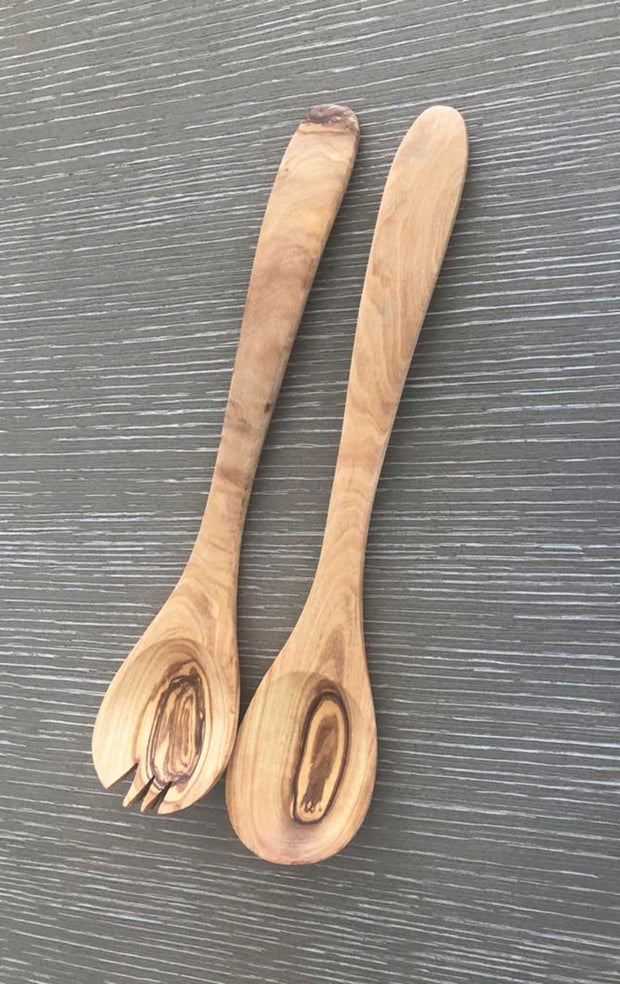 Olive Wood Narrow Salad Serving Set