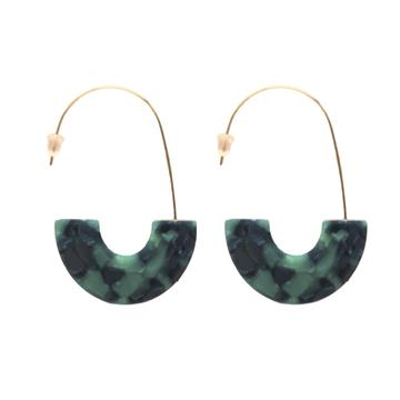 Emerald Tortoise Shell Threaded Hoop Earrings