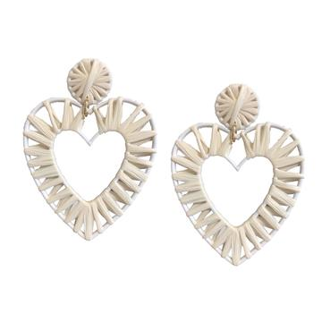 Earring - Natural White Raffia Hearts