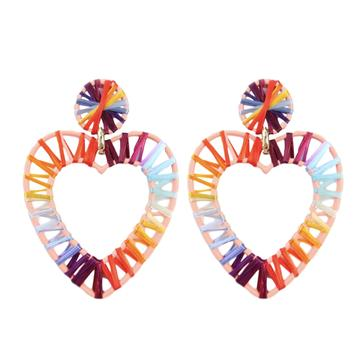 Earring - Rainbow Raffia Hearts