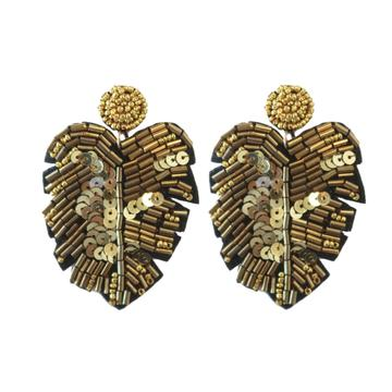 Gold Sequined Monstera Earrings