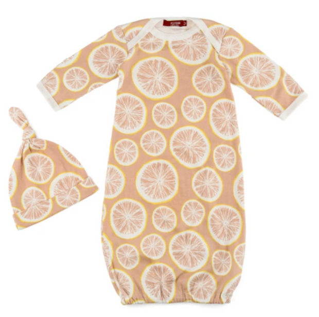 Milkbarn Gown & Hat Set Grapefruit
