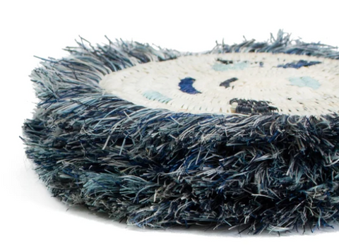 Kazi Silver + Blue Black Fringed Coasters