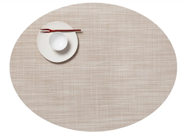 Chilewich Mini Basketweave Oval Placemat - Parchment