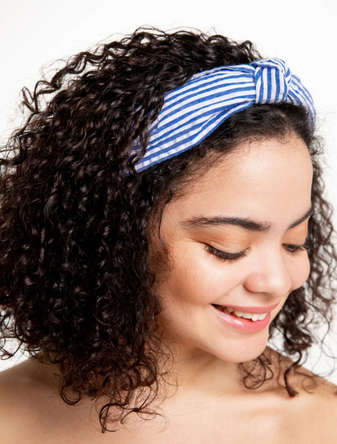 Seersucker Top Knot Headband- Blue