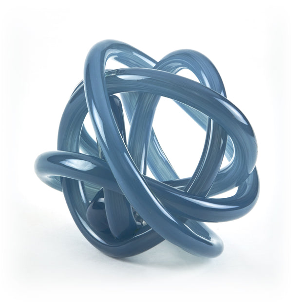 Hand Blown Glass Knot - Smokey Blue