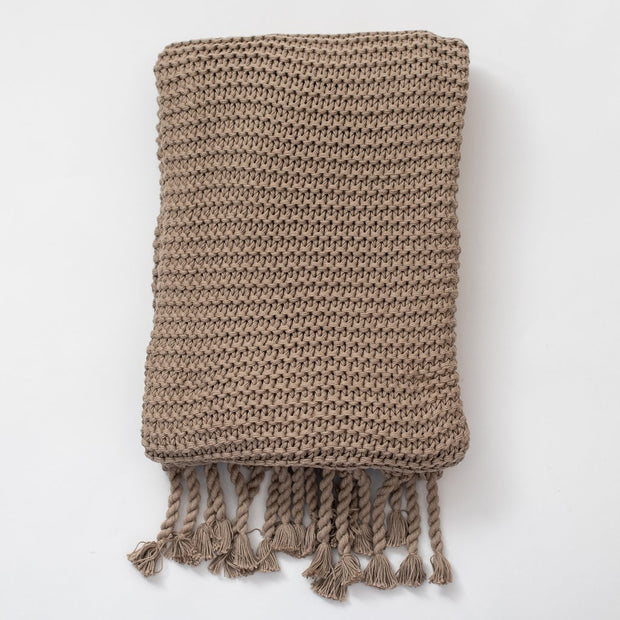 Organic Cotton Comfy Knit Throw - Stone