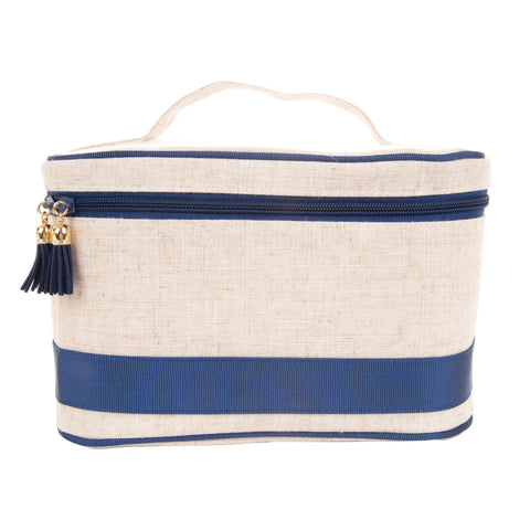 Navy Linen Train Case