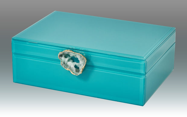 Turquoise Decorative Box with Natural Agate Handle