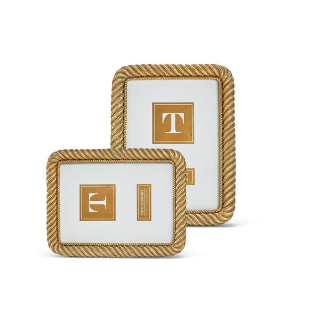 Two's Company Gold Rope (5x7) Picture Frame