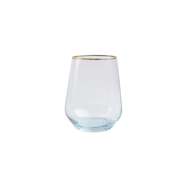 Vietri Rainbow Stemless Wine Glass - Turquoise