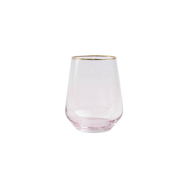 Vietri Rainbow Stemless Wine Glass - Pink