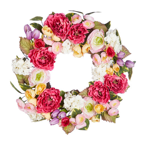 Peony and Tulip Mixed Wreath