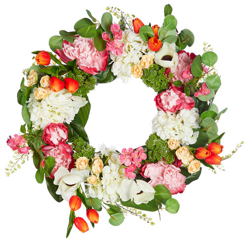 Tulip and Peony Wreath
