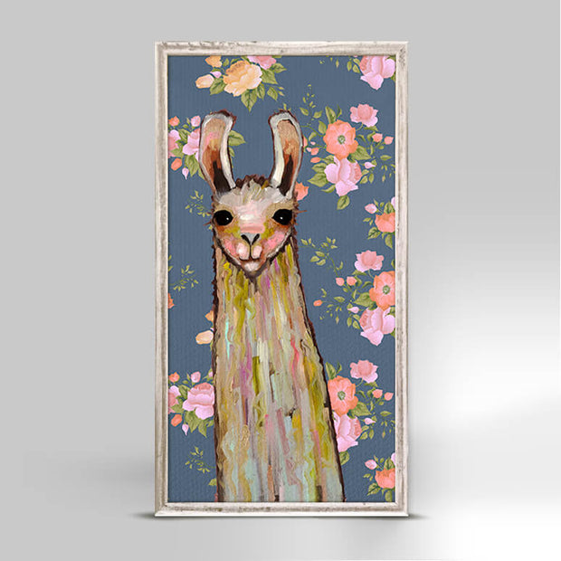 Baby Llama - Floral Mini Framed Canvas 5x10