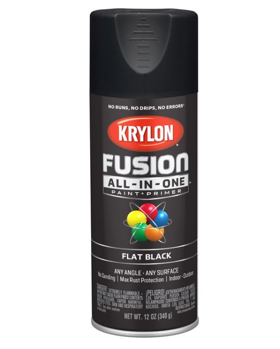 Krylon Fusion All-In-One Flat Black Paint + Primer Spray Paint 12 oz