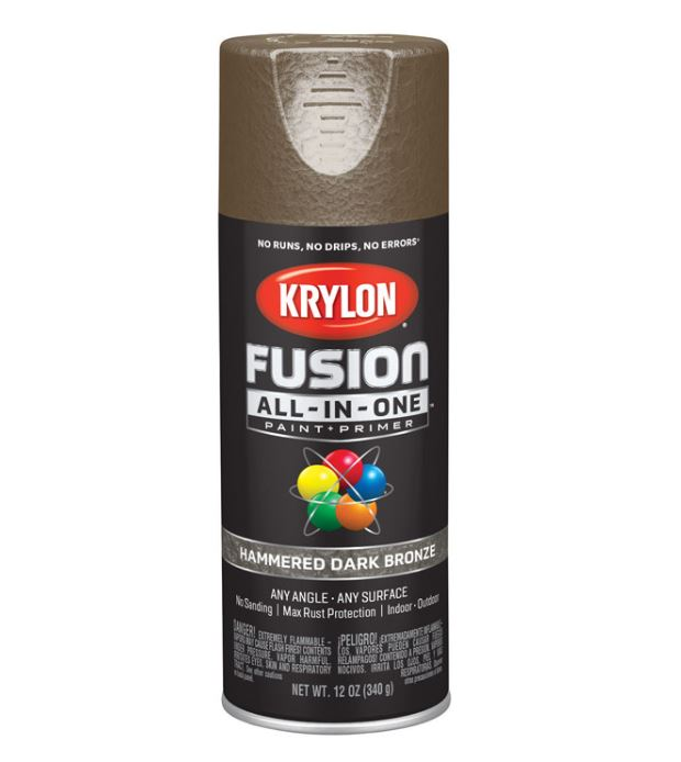 Krylon Fusion All-In-One Hammered Dark Bronze Paint + Primer Spray Paint 12 oz.