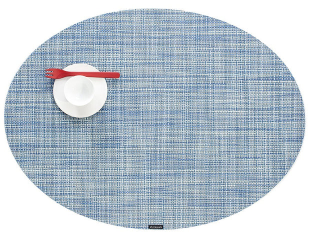 Chilewich Mini Basketweave Oval Placemat - Chambray