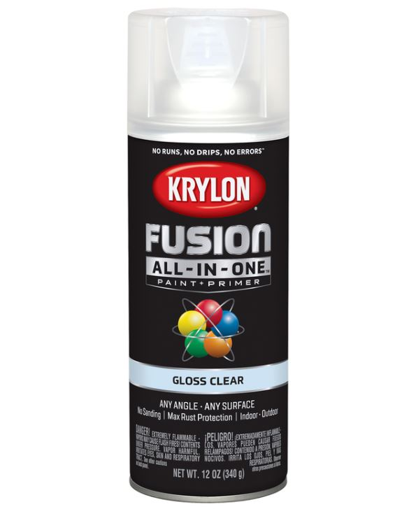 Krylon Fusion All-In-One Gloss Clear Paint + Primer Spray Paint 12 oz.