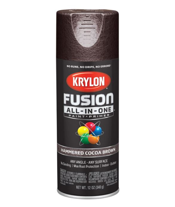 Krylon Fusion All-In-One Hammered Cocoa Brown Paint + Primer Spray Paint 12 oz.