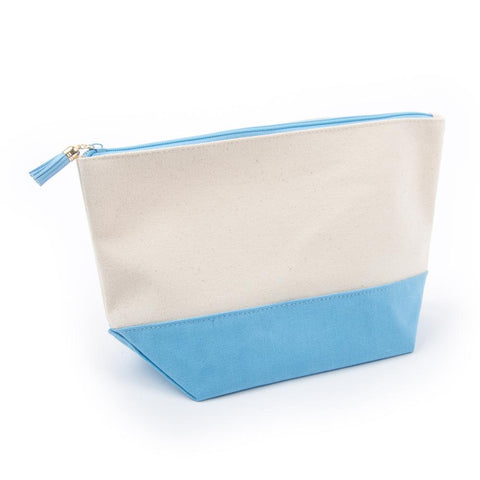 Light Blue Canvas Cosmetic Pouch