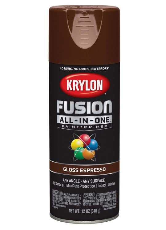 Krylon Fusion All-In-One Gloss Espresso Paint + Primer Spray Paint 12 oz.
