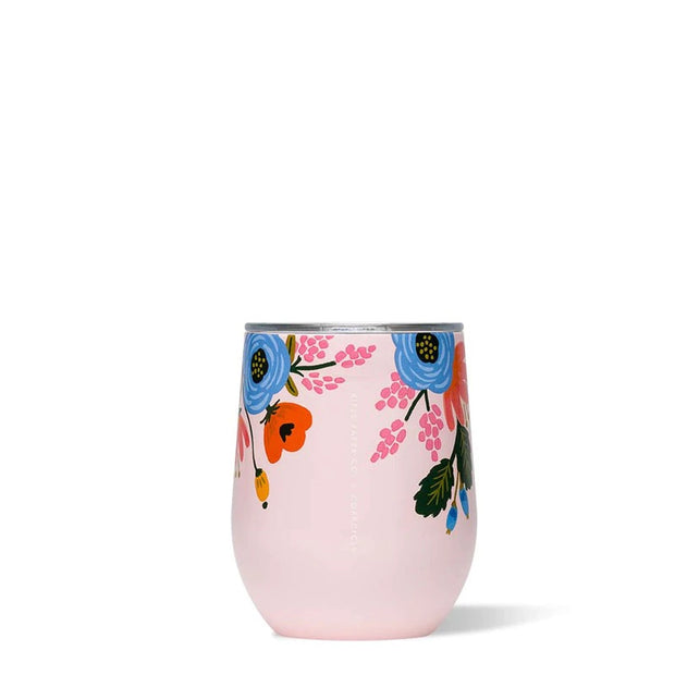 Corkcicle Rifle Paper Co. Stemless Wine Cup 12oz - Lively Floral Blush